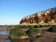 Hunstanton cliffs showing rock pools on the beach below