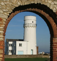 Hunstanton Lighthouse through the Archway of St Edmunds Chapel